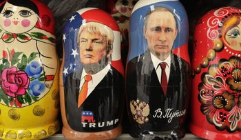 Russian nesting dolls depicting U.S. President Donald Trump and Russian President Vladimir Putin are displayed at a souvenir shop in St. Petersburg, Russia.