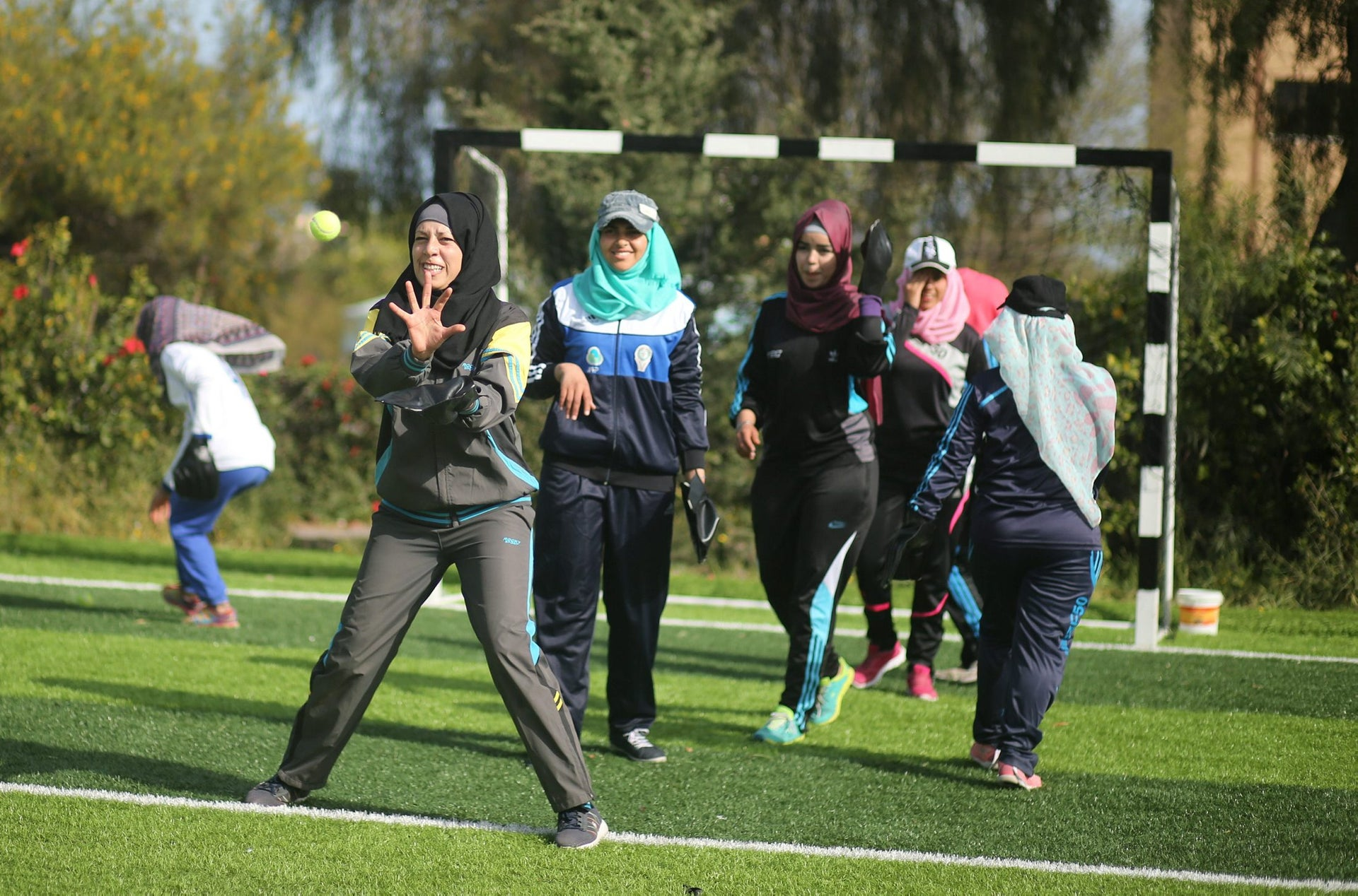 Palestinian women take part in a baseball training session in Khan Younis in the southern Gaza Strip March 19, 2017. Picture taken March 19, 2017.