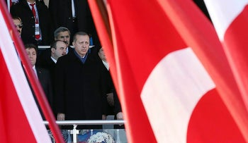 A handout made available by the Turkish Presidential Press Service on March 18, 2017, shows President Recep Tayyip Erdogan at a ceremony in Canakkale, western Turkey.