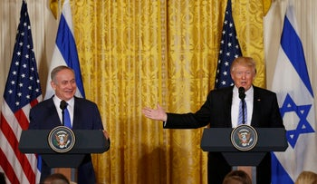 Israeli Prime Minister Benjamin Netanyahu, left, with U.S. President Donald Trump at a joint news conference at the White House, February 15, 2017.