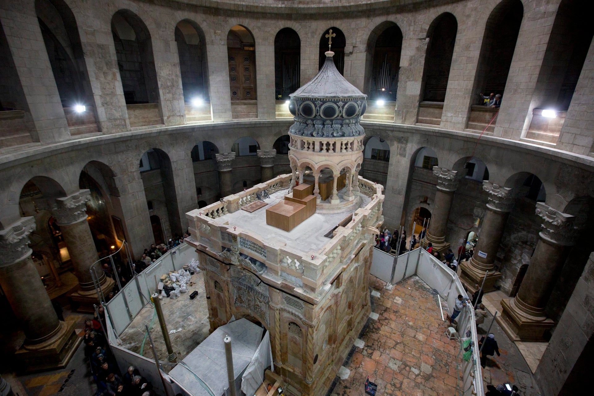 The renovated Edicule is seen in the Church of the Holy Sepulchre, traditionally believed to be the site of the crucifixion of Jesus Christ, in Jerusalem's old city Monday, Mar. 20, 2017. A Greek restoration team has completed a historic renovation of the Edicule, the shrine that tradition says houses the cave where Jesus was buried and rose to heaven.
