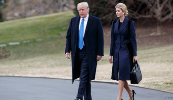 President Donald Trump and his daughter Ivanka Trump walk to board Marine One on the South Lawn of the White House in Washington, Feb, 2017.