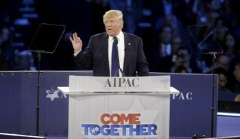 U.S. President Donald Trump addresses the American Israel Public Affairs Committee (AIPAC) afternoon general session in Washington March 21, 2016