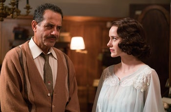 Midge with her father Abe Weinberg, played by Tony Shalhoub.