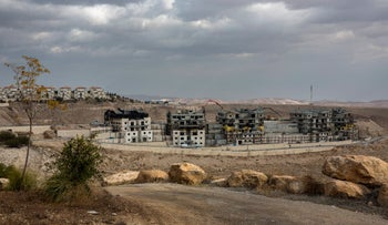 Construction in the settlement of Ma'aleh Adumim in the West Bank, March 16, 2017.