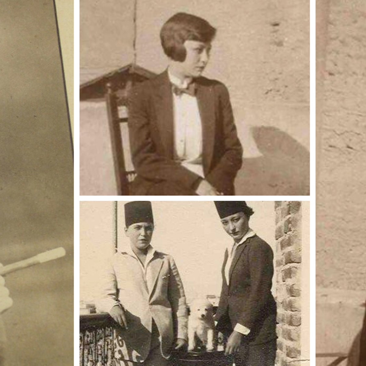 Egyptian women dressed in men in the first half of the 20th century.