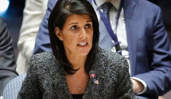 U.S. Ambassador Nikki Haley speaks in the Security Council after a Western-backed U.N. resolution that would impose sanctions on Syria was defeated in a vote, Tuesday Feb. 28, 2017 at U.N. headquarters.