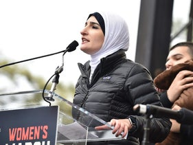 Linda Sarsour speaking onstage during the Women's March in Washington, January 21, 2017.