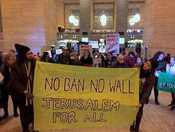 Protest at Grand Central Terminal during Netanyahu's visit with Trump February 15, 2017