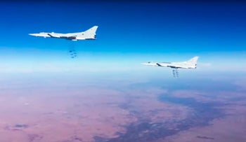 Russian air force Tu-22M3 bombers strike the Islamic State group targets in Syria, January 24, 2017.