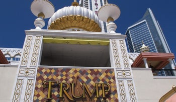 The exterior of the Trump Taj Mahal casino in Atlantic City, New Jersey.