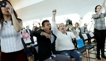 Attendees react during a town hall meeting being held by Thomas Homan, acting director of enforcement for ICE, in Sacramento, California, U.S., March 28, 2017.
