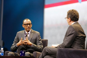 Rwandan President Paul Kagame, left, speaks at the AIPAC conference in Washington, March 26, 2017.