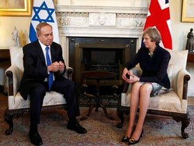 Britain's Prime Minister Theresa May, right, meets with Israeli Prime Minister Benjamin Netanyahu in Downing Street, London, Monday, Feb. 6, 2017.