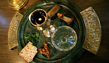 A traditional Passover seder plate is seen at Congregation Beth El in Tyler, Texas, on the first night of Passover.
