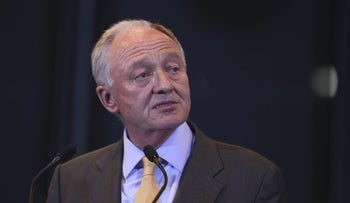 Ken Livingstone, defeated mayoral candidate, speaks after losing the 2012 London mayoral election at City Hall, in London, U.K. on Friday, May 4, 2012.