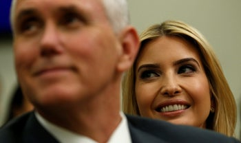 Ivanka Trump and Vice President Mike Pence (L) attend a CEO town hall on the American business climate in Washington, U.S., April 4, 2017.