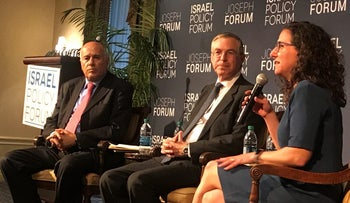 Jibril Rajoub, Michael Herzog and Tamara Cofman Wittes at an Israel Policy Forum discussion on the two-state solution, New York, April 5, 2017.
