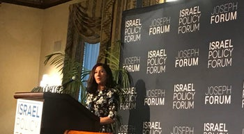 Susie Gelman, chairwoman of the Israel Policy Forum, speaking in New York on April 5, 2017.