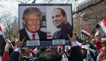 Supporters of Egyptian President Abdel Fattah al-Sisi chant slogans as Sisi meets with US President Donald Trump at the White House in Washington, DC, on April 3, 2017