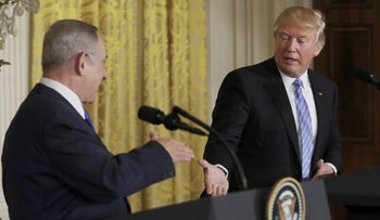 U.S. President Donald Trump greets Israeli Prime Minister Benjamin Netanyahu at a joint news conference at the White House in Washington, U.S., February 15, 2017.