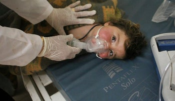 Assad 'planning' another chemical attack. Pictured: A Syrian child treated following the previous chemical attack in Idlib, on April 4, 2017