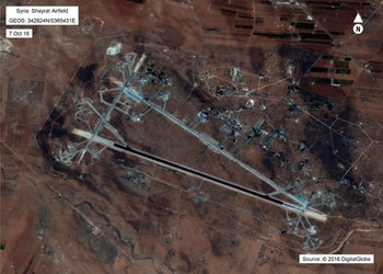 An image of the Shayrat airfield in Syria released by the U.S. Department of Defense, October 7, 2016.