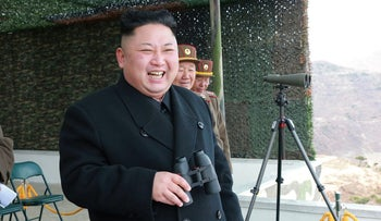North Korean Leader Kim Jong Un guides the Korean People's Army Tank Crews' Competition 2017 in Pyongyang.