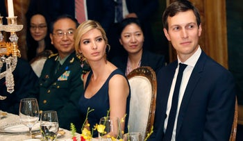 Ivanka Trump and Jared Kushner during a dinner with President Donald Trump and Chinese President Xi Jinping at Mar-a-Lago, April 6, 2017.