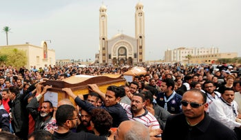 Relatives mourn the victims of the Palm Sunday bombings, Alexandria, Egypt April 10, 2017.