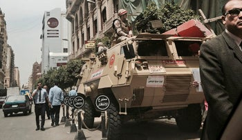 File photo: Egyptian soldiers guard a street near a church in Cairo, Egypt, April 10, 2017.