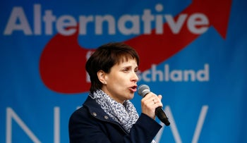 Alternative for Germany (AfD) chairwoman Frauke Petry delivers speech at election campaign launch for upcoming federal state elections, Germany April 8, 2017.