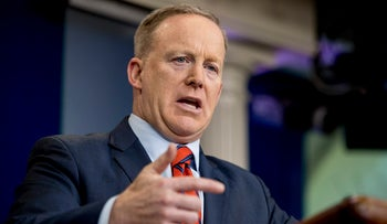 White House Press secretary Sean Spicer talks to the media during the daily press briefing, Washington, Tuesday, April 11, 2017.