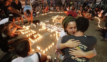 2014   Rabin Square, Tel Aviv, A spontaneous vigil following the discovery of the bodies of three Israeli-settler teenagers who had been abducted two weeks earlier by Hamas militants in the West Bank.