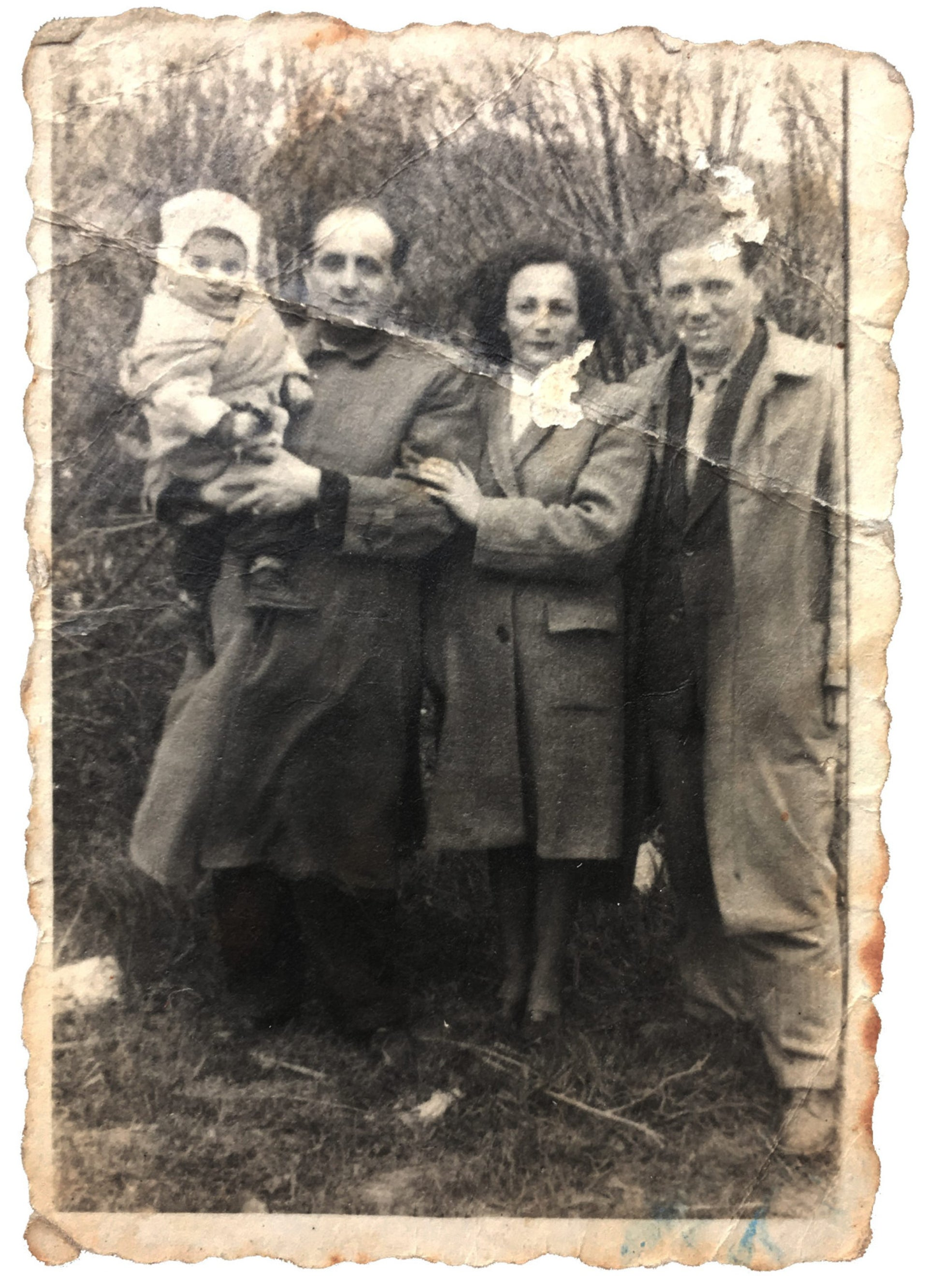 On the left: Michal Shapira's grandparents, Lea and Arie Fenster, and her mother, Zippi Fenster (Shapira), in Germany after the war.