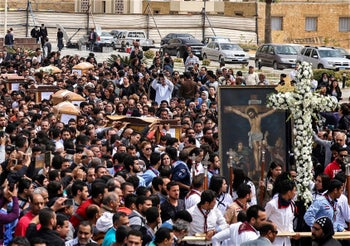 Coffins arriving for the funeral of those killed in a Palm Sunday church attack in Alexandria, Egypt, April 10, 2017.