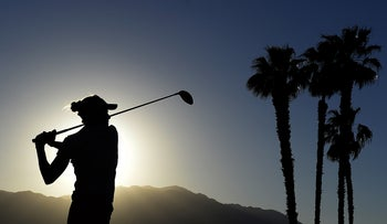 Lexi Thompson hits from the eighteenth course tee box during the third round of the ANA Inspiration golf tournament at Mission Hills CC - Dinah Shore Tournament Course.