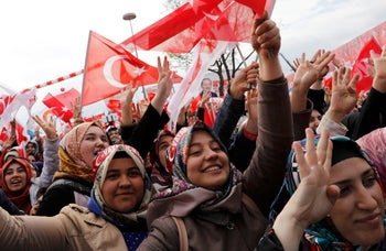 Supporters of Turkish President Recep Tayyip Erdogan during a rally for the referendum, in Konya, Turkey, April 14, 2017.
