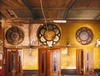 Entry to main sanctuary at Eldridge Street Synagogue and Museum, before renovation.