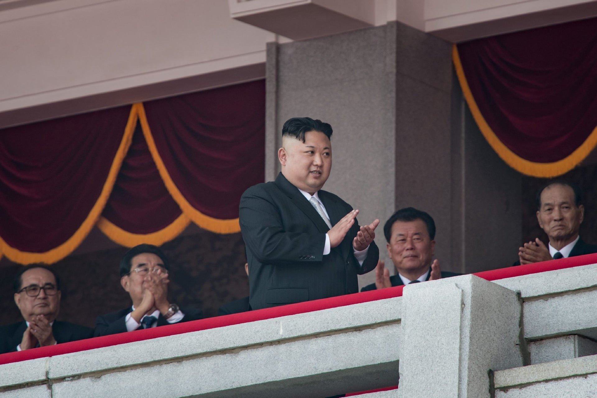 North Korean leader Kim Jong-Un on a balcony of the Grand People's Study house after a military parade in honor of his father Kim Il-Sung, in Pyongyang, April 15, 2017.