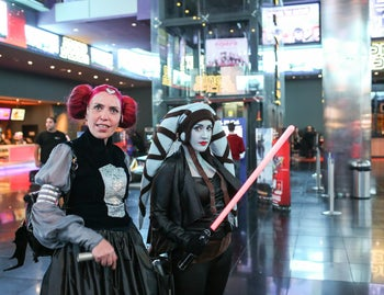 A Star Wars fans at the premiere of the latest 'Star Wars' movie, in Rishon Lezion, Dec. 16, 2015.