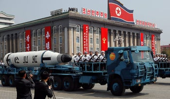 A North Korean navy truck carries a submarine-launched ballistic missile during a military parade marking in Pyongyang, April 15, 2017.