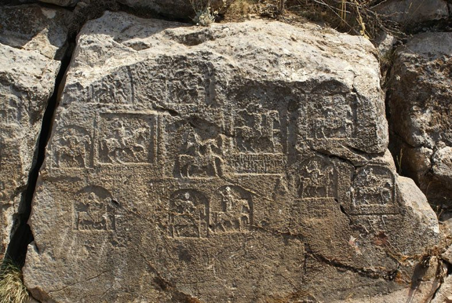 Open-air sanctuary with rock-cut reliefs of the rider-god Kakasbos, found in the Kibyratis, Turkey.