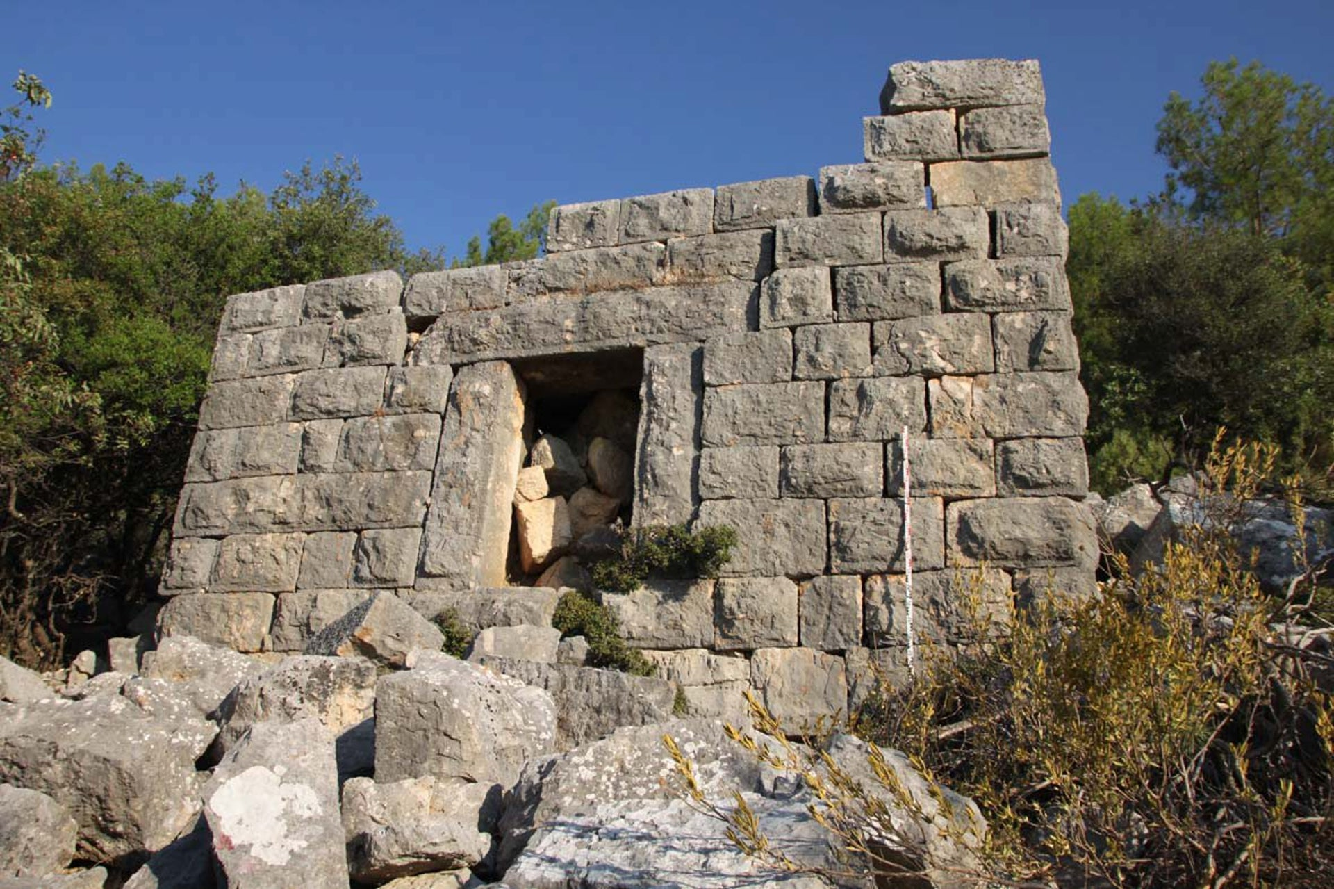 Tower in Roman farmstead, Kibyratis, Turkey: Picture shows closely-fitting stone bricks and  a doorway of what had been a tower in a Roman farm owned by the elite in southwest Turkey some 1900 years ago.