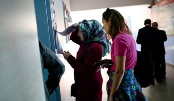 Voters at a school in Istanbul's Uskudar neighborhood for the Turkish referendum, April 16, 2017.