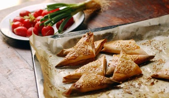 Burekas, an Israeli favorite, are typically made with trans fat, and the salad on the site can't change that fact.