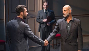 """The Israeli and Palestinian negotiators of the Broadway play """"Oslo"""", New York."""