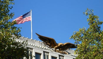 The gilded American eagle situated on the top of the U.S. Embassy in London.
