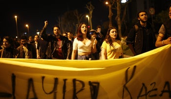 Supporters of the 'no' vote chant slogans as they protest against the referendum outcome, in Istanbul, April 17, 2017.
