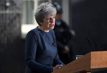 British Prime Minister Theresa May calling for early elections outside 10 Downing Street, April 18, 2017